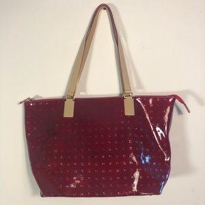 Arcadia red and tan handbag